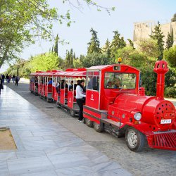 Happy Train on the foot of Acropolis