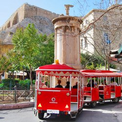Happy Train at the Lysicrates Statue at Plaka